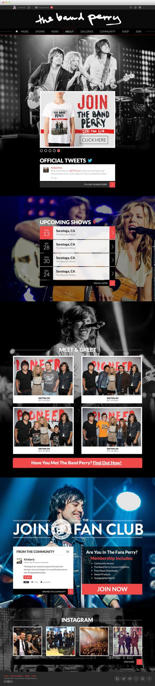 TheBandPerry.com We Are Pioneers drupal ecommerce website